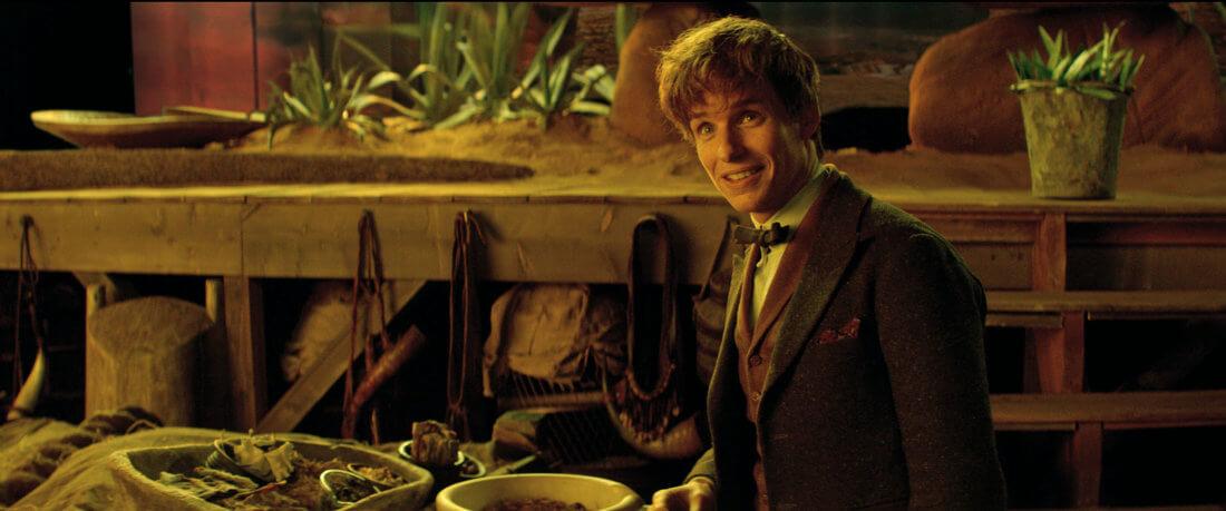 Newt Scamander (Eddie Redmayne), en el interior de su maleta de criaturas mágicas.